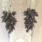 HAND MADE BLACK RICE PEARL CLUSTER EARRINGS WITH 925 STERLING SETTING #100