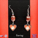 CLEMSON TIGER PAW HEART EARRINGS IN SILVER TONE 2 INCHES LONG - FREE SHIPPING