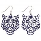 PURPLE CUT OUT TIGER HEAD EARRINGS-CLEMSON-AUBURN-MISSOURI-MEMPHIS FREE SHIPPING