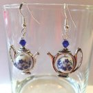 10 MM BLUE POPPY PORCELAIN BEAD - ACCENT TEA POT EARRINGS-925 STERLING EAR WIRES