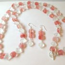 HANDMADE 28 INCH STRAWBERRY & WHITE QUARTZ NECKLACE & EARRINGS FREE SHIPPING