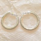 BEAUTIFUL CRYSTAL HOOP EARRINGS IN SILVER PLATE POST & LEVER FASTENER #1