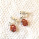 ORANGE & BLUE FLORAL LAMPWORK CLIP ON EARRINGS IN SILVER PLATE 1 INCH LONG #158