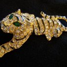 BEAUTIFUL TIGER BROOCH IN GOLD~ENAMEL~CRYSTALS W/ SAFETY CLASP-FREE SHIPPING