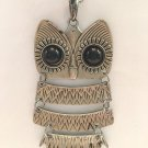 "LARGE SILVERTONE 4"" OWL PENDANT & 28"" CHAIN NECKLACE LOOKS LIKE AN ANTIQUE PIECE"