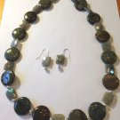 HANDMADE 24 INCH GREEN SNAKESKIN JASPER BEAD NECKLACE & EARRINGS FREE SHIPPING