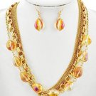 GLASS & FAUX STONE MULTI STRAND 17 INCH PLUS EXTENTION NECKLACE & EARRING SET
