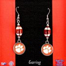 CLEMSON TIGER PAW FOOTBALL EARRINGS 2 INCHES LONG SILVER TONE- FREE SHIPPING
