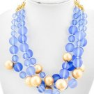 LOVELY COOL BLUE &  YELLOW GOLD TRIPLE STRAND 16 INCH + EXTENTION NECKLACE