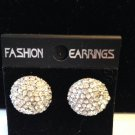 "CLASSIC CLEAR CRYSTAL & SILVERPLATE BUTTON EARRINGS - 5/8"" WIDE FREE SHIPPING"