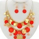 ORANGE & GOLD BEAD WITH CRYSTALS 17 1/2 INCH PLUS EXTENTION NECKLACE & EARRINGS