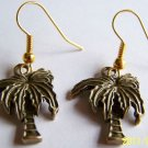 READY FOR THE BEACH! BRASS PALM TREE CHARM EARRINGS WITH GOLDTONE EAR WIRES