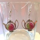 10MM DOUBLE COLOR JADE W/CRYSTAL ACCENT TEA POT EARRINGS - 925 STERLING EAR WIRE