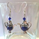 PRETTY 8 MM BLUE JADE~CRYSTAL ACCENT TEA POT EARRINGS W/925 STERLING EAR WIRES