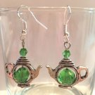 8 MM EMERALD GREEN-CRYSTAL ACCENT SHORT TEA POT EARRINGS -925 STERLING EAR WIRES