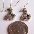 PRECIOUS SILVER PLATED BUNNY RABBIT & EGGS EARRINGS W/925 STERLING EAR WIRESWIRE