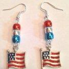 OLD GLORY ENAMEL-SILVER PLATE US FLAG EARRINGS W/ FISH HOOK EAR WIRES #156