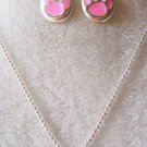 WAY CUTE! 3 PIECE PINK TIGER PAW NECKLACE & EARRING IN SILVER & ENAMEL