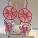 CUTE HANDMADE PINK  BEADED DREAM CATCHER EARRINGS W/SURGICAL STEEL EAR WIRES