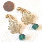 "8MM EMERALD GREEN CRYSTAL FLORAL CLIP ON EARRINGS IN GOLD TONE 1 3/4"" LONG #153"