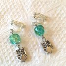DARLING TEAL CRYSTAL OWL CLIP ON EARRINGS IN SILVER PLATE 1 1/2 INCH LONG #146