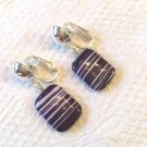 "PURPLE & WHITE SEA SEDIMENT BEAD CLIP ON EARRINGS IN SILVER PLATE 1"" LONG #161"