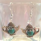 8MM TURQUOISE SHORT TEA POT~CRYSTAL ACCENT EARRINGS W/925 STERLING EAR WIRES