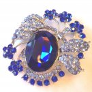 "TWO TONE BLUE CRYSTAL &  SILVERTONE CIRCLE  BROOCH 2 1/4""-FREE SHIP-GREAT GIFT"