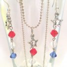 CUTE RED, CLEAR, & BLUE CRYSTAL W/STAR ACCENT NECKLACE & MATCHING EARRINGS #183