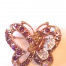 LOVELY PURPLE & AURORA BOREALIS CRYSTAL BUTTERFLY BROOCH-ROSEGOLD-FREE SHIPING