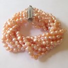 LOVELY 8 STRAND FRESH WATER CULTURED BLUSH PEARL BRACELET SILVER PLATE CLASP