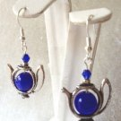 10 MM BLUE CATS EYE & CRYSTAL TEA POT EARRINGS- 925 STERLING SILVER EAR WIRES