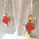 LOVELY 10MM ORANGE JADE STONE & CRYSTAL TEA POT EARRINGS - 925 STERLING EAR WIRE