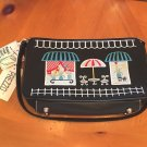 NWT SMALL BLACK PURSE WITH CUTE STREET CAFE SCENE EMBROIDERED ON PURSE FREE SHIP