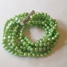 LOVELY 8 STRAND MINT GREEN FRESHWATER CULTURED PEARL BRACELET SILVER PLATE CLASP