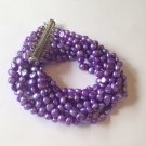 CUTE HANDMADE 8 STRAND PURPLE CULTURED FRESH WATER PEARL BRACELET 7 INCHES LONG
