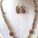 "LOVELY CHOCOLATE 12MM COIN & 6MM ROUND PEARLS 22"" NECKLACE & MATCHING EARRINGS"