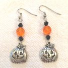 CUTE HALLOWEEN SILVERTONE JACK O LANTERN EARRINGS W/BLACK & ORANGE CRYSTALS#195