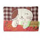 Credit Name Card Holder w/ Elastic Band : Orange Lucky Cat Flower Embroider