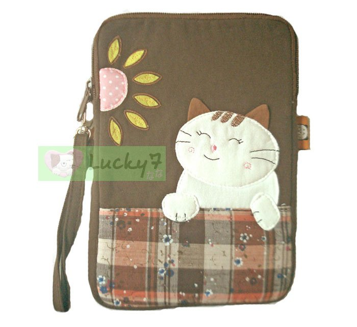 Apple iPad mini Case Pouch Cover / Kindle / Galaxy Tab2 : Brown Lucky Cat