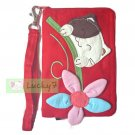 iPhone 4/4S/5 Galaxy S3 4 III IV Case Pouch : Red Lucky Cat Flower Cotton Wristlet