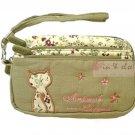 Fabric Phone Case Purse Wristlet ANIMOB FLOWER FLORAL / GREEN