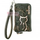 iPhone 4 4S Case Phone Pouch ANIMOB EMBROIDER // Greenish-brown