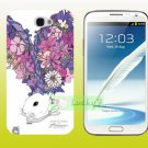 SAMSUNG Galaxy Note II 2 Hard Back Case Cover Skin Shell : RABBIT & FLOWERS