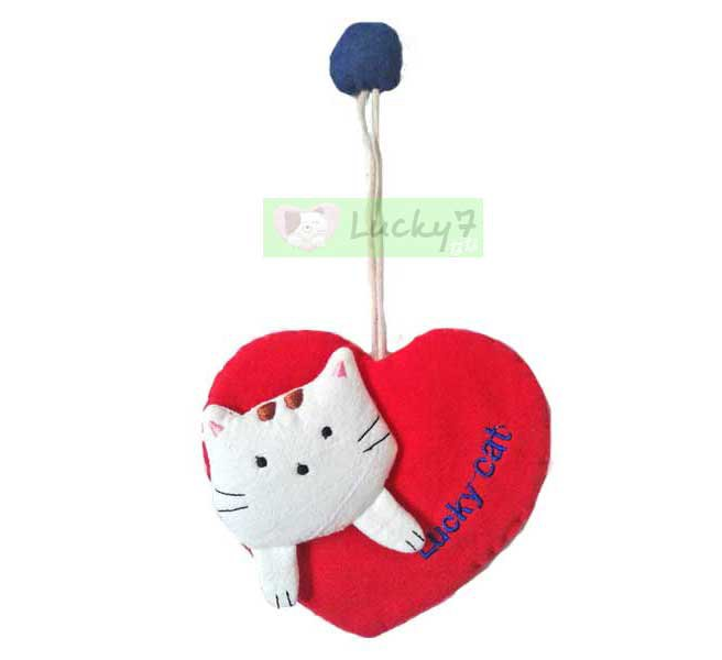 Cotton Fabric Key Chain Cover Holder / Lucky Cat Love & Heart / Red
