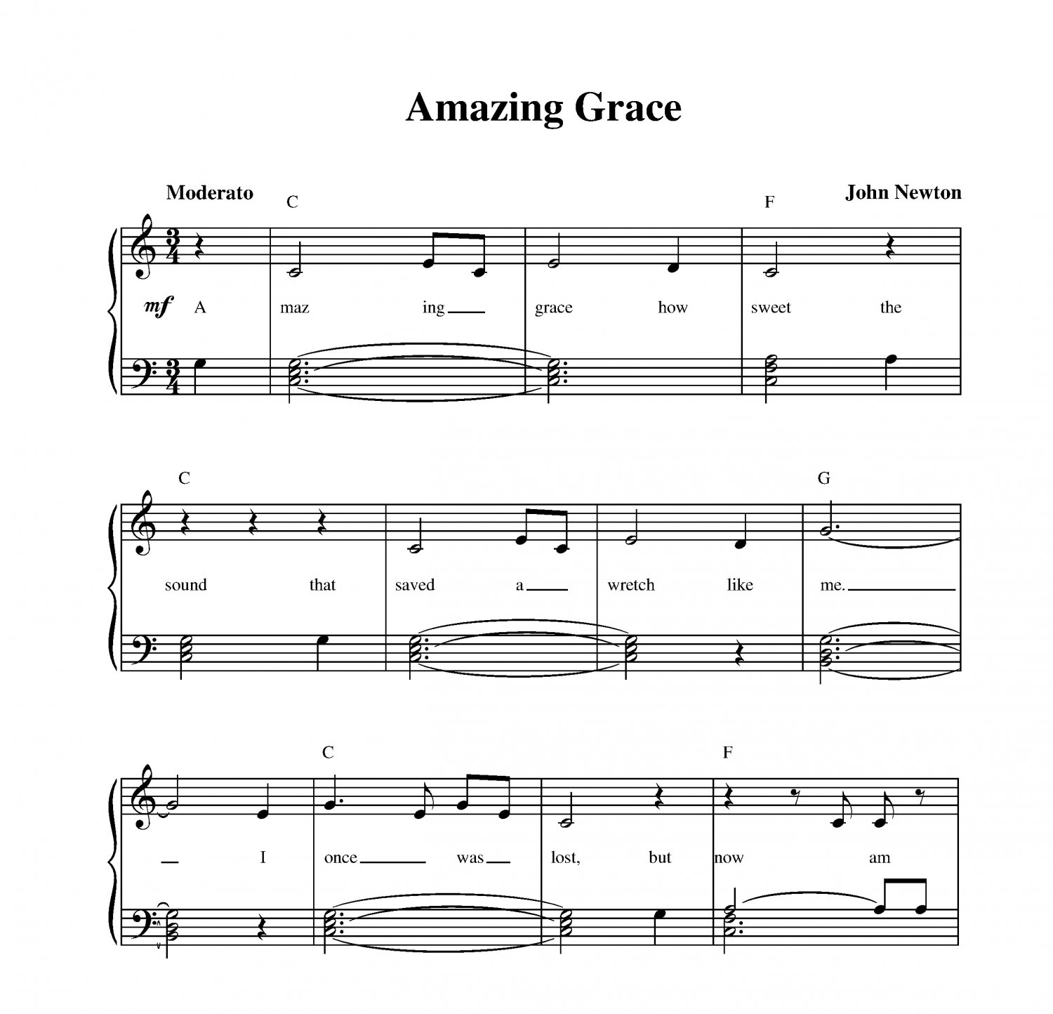 Amazing Grace Free Piano Sheet Music With Lyrics: Amazing Grace