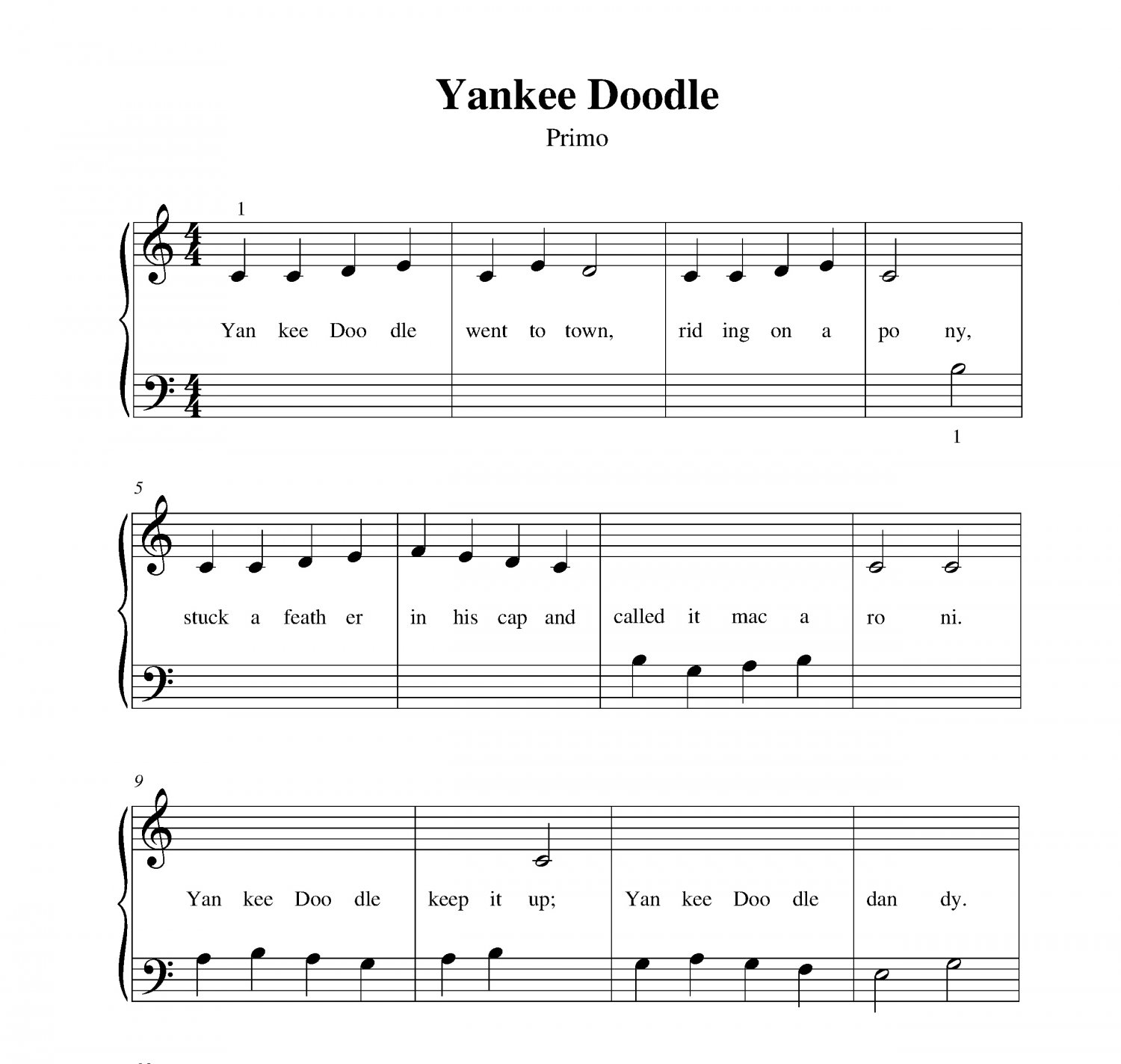 Full Theme Sheet Music Theoffice Us: Yankee Doodle