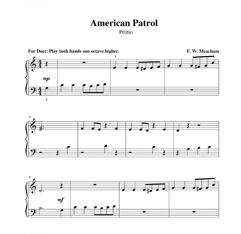 Piano Sheet Music For Shenandoah: American Patrol