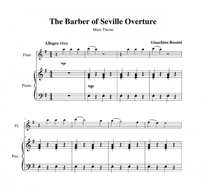 Nessun Dorma Lyrics Sheet Music: The Barber Of Seville Overture
