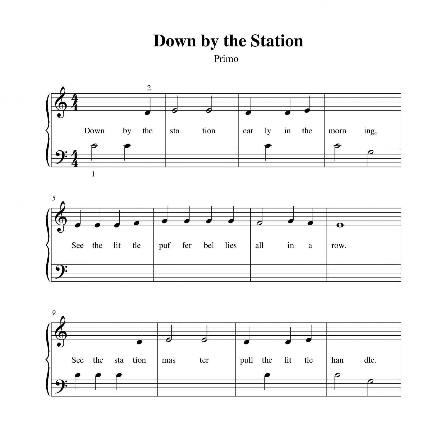 Turning Page Sleeping At Last Piano Sheet Music With Lyrics: Down By The Station